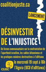 19 SEPT 19 – LANCEMENT! / LAUNCH!: Désinvestir de l'injustice / Divest from Injustice